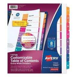 Customizable Toc Ready Index Multicolor Dividers 8-Tab Letter   Total Quantity: 1