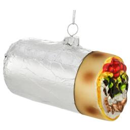 Burrito In Foil Glass Ornament Xmas Funny Mexican Food Holiday Glass Gift