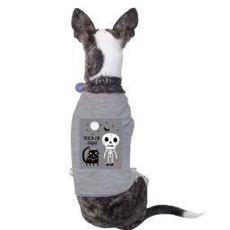 Skeleton Grey Cat Shirt For Halloween Cute Graphic Small Pet Shirt