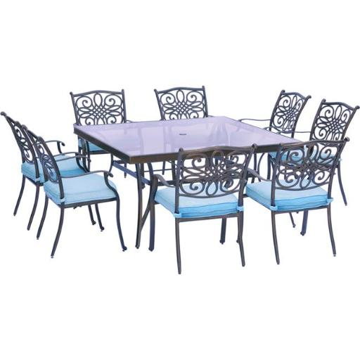 Hanover TRADDN9PCSQG-BLU Traditions Dining Set with Chairs & Square Glass Table - 9 Piece, Blue
