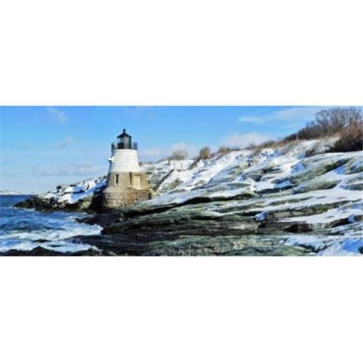 Lighthouse along the sea Castle Hill Lighthouse Narraganset Bay Newport Rhode Island USA Poster Print by - 36 x 12