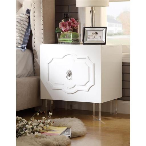 Posh Living Mackenzie MDF Wood Lacquer Chrome Lucite Leg Side Table Accent Table & Nightstand - White