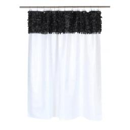 Carnation Home Fashions FSCL-JAS-75 Jasmine Fabric Shower Curtain in Black-White FSCL-JAS/75