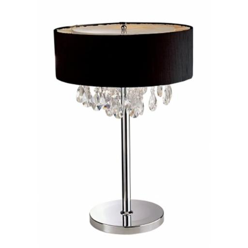 All The Rages LT1023-BLK Elegant Designs Trendy Cascading Crystal and Chrome Table Lamp Drum Shade, Black
