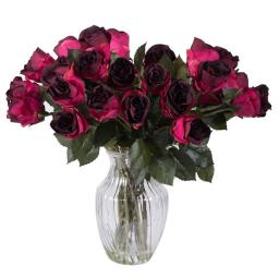 Vickerman F12187 Purple Rose Arrangement Everyday Floral - 16 in.
