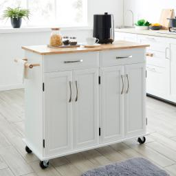 BELLEZE Portable Kitchen Cart with Wooden Top, White