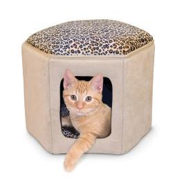 K&H Pet Products 3892 Tan / Leopard K&H Pet Products Kitty Clubhouse Tan / Leopard 17 X 16 X 13