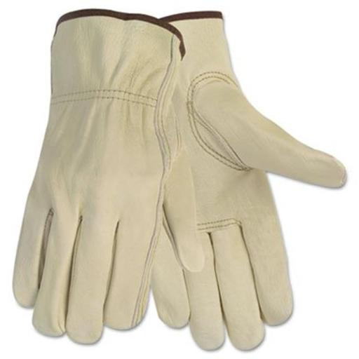 Economy Leather Driver Gloves- Medium- Cream