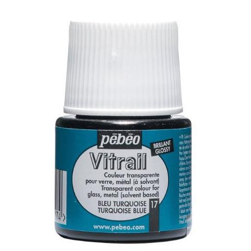 Pebeo 050017 vitrail air dry glass paint turquoise 45ml