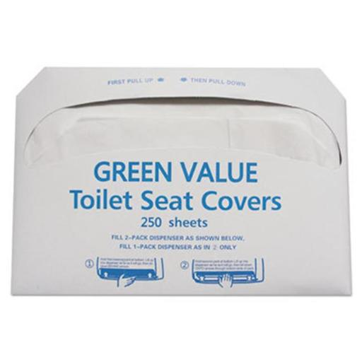 General Supply TEHGVTSC5000 Half-Fold Toilet Seat Covers, White - 14.75 x 16.5 in.