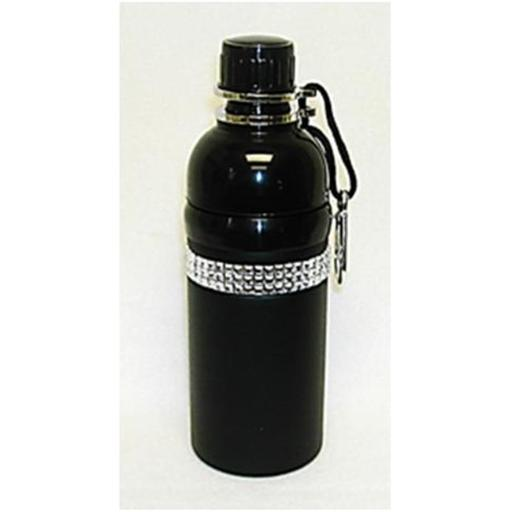 Good Life Gear SF6035-5B 17 oz. Stainless Steel Pet Water Bottle with Carabineer - Black with Bling