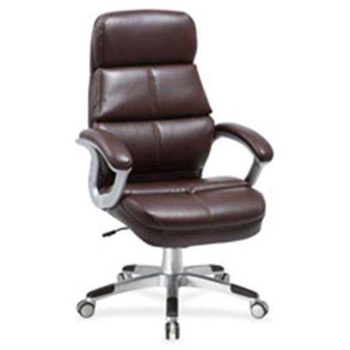 Lorell LLR59562 Brown Bonded Leather High-Back Chair