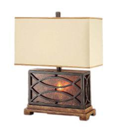 Wendell Metal and Resin Table Lamp w/ Nightlight 24 In. Iron And Mica Finish