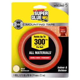 The Original Super Glue Corporation Super Strong 0.75 in. W x 98 in. L Mounting Tape Clear - Case Of: 6;