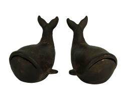Rustic Brown Cast Iron Stubby Whale Bookends