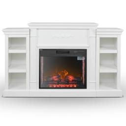 DELLA Widescreen Electric Fireplace with Bookcases in White
