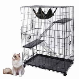 "Yescom 51""x36""x22"" Large Cat Pets Wire Cage 2 Door Playpen w/ Hammock 2 Ramp Ladders (Black Vein)"