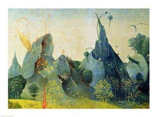 The Garden of Eden, detail from the right panel of The Garden of Earthly Delights, c.1500 Poster Print by Hieronymus Bosch