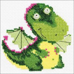 """Little Dragon Counted Cross Stitch Kit 4""""X4"""" 14 Count"""