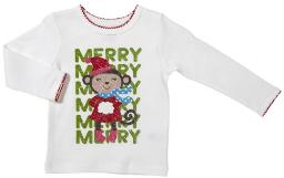 Carter's Baby Girls' Monkey Merry Merry Long Sleeve Shirt (9 Months)