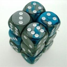 Chessex Manufacturing 26656 D6 Cube Gemini Set Of 12 Dice, 16 mm - Steel & Teal With White Numbering
