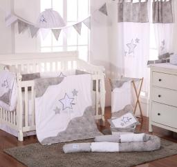 Grey Little Star 4 Piece Crib Bedding Set (Bumper)