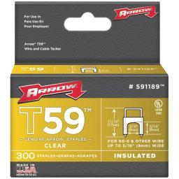 Arrow Fastener 591189 Clear T59 Insulated Staples For Rg59 Quad & Rg6, 5/16 X 5/16, 300 Pk