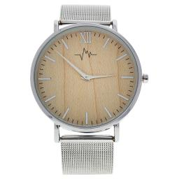 Ao-193 Hygge - Silver/Wood Stainless Steel Mesh Bracelet Watch By Andreas Osten For Women - 1 Pc Watch