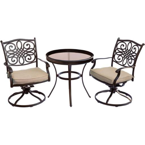 Hanover TRADDN3PCSWG Traditions Bistro Set with Swivel Chairs & Glass Table - 3 Piece