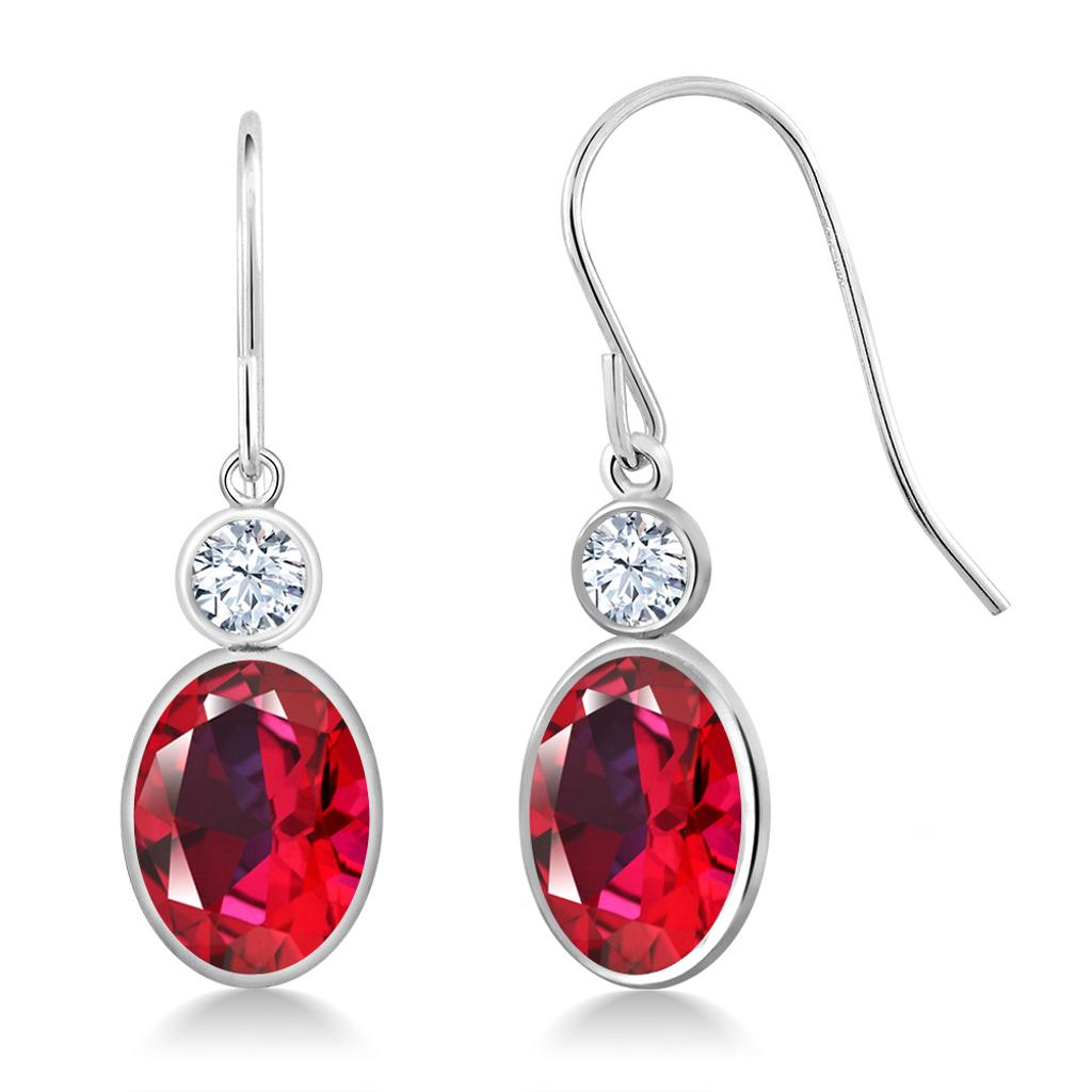 14K White Gold Earrings Created Sapphire Set with Oval Red Topaz from Swarovski