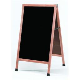 Aarco Products  Inc. A-5SB A-Frame Sidewalk Board Features a Black Porcelain Markerboard and Solid Red Oak Frame with a Clear Lacquer Finish. Size 42