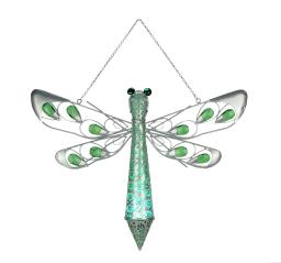 Green Jewel Metal Dragonfly Solar Light Hanging Garden Statue
