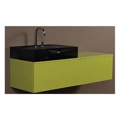 Whitehaus Collection WHAEVVE06 43.25 in. Aeri lacquered wood wall mount unit with double drawers and counter top- Green Shiny Lacquered