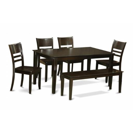 East West Furniture CALY6-CAP-W 6 Piece Dining Room Set With Bench- Dining Room Table and 4 Ding Room Chairs and Bench