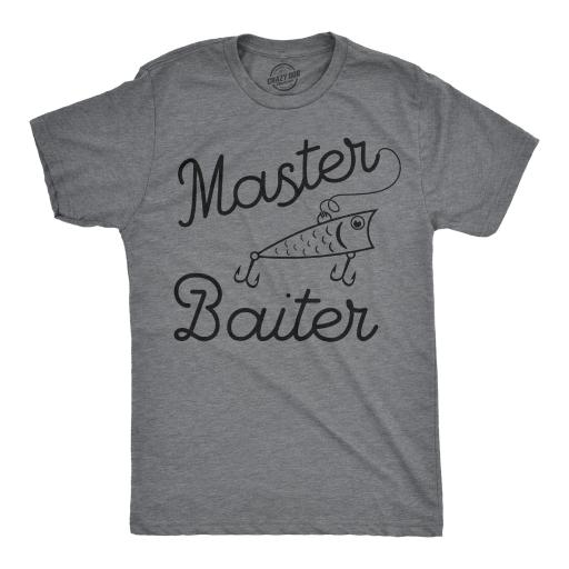 Mens Master Baiter Tshirt Funny Outdoor Fishing Tee For Guys