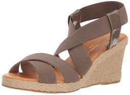 Andre Assous Women's DALMIRA Espadrille Wedge Sandal, Taupe, 11 M US