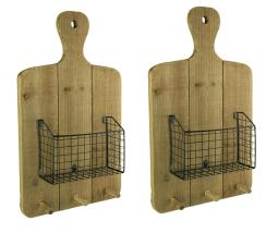 Rustic Wood Hanging Cutting Board with Basket and Wall Hooks Set of 2