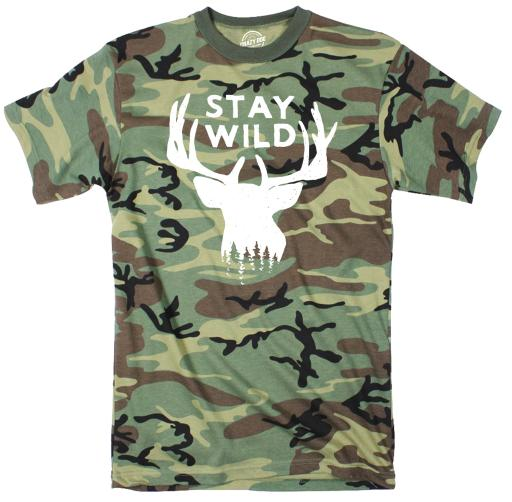 Stay Wild Youth Camo Tshirt Funny Outdoors Camping Tee