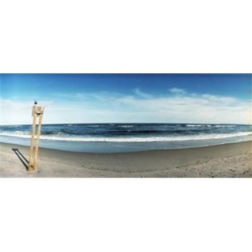 Seagull standing on a wooden post at Fort Tilden Beach Queens New York City New York State USA Poster Print by - 36 x 12