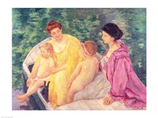 The Swim, or Two Mothers and Their Children on a Boat, 1910 Poster Print by Mary Cassatt