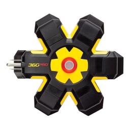 360 Electrical 3808789 Power Hub 5 Outlets Power Strip, Yellow and Black