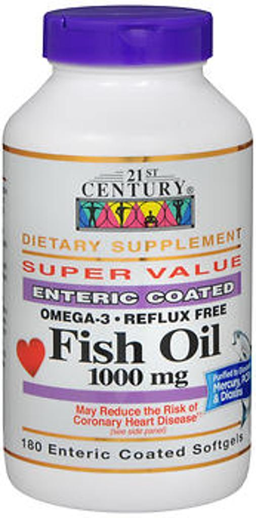 21st Century Fish Oil 1000 mg Omega-3 - 180 Enteric Coated Softgels