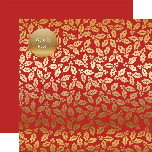 "Holly & Berries Gold Foiled Double-Sided Cardstock 12""X12""-Red Holly & Berries 5ANCTRQPUOUAHGC8"