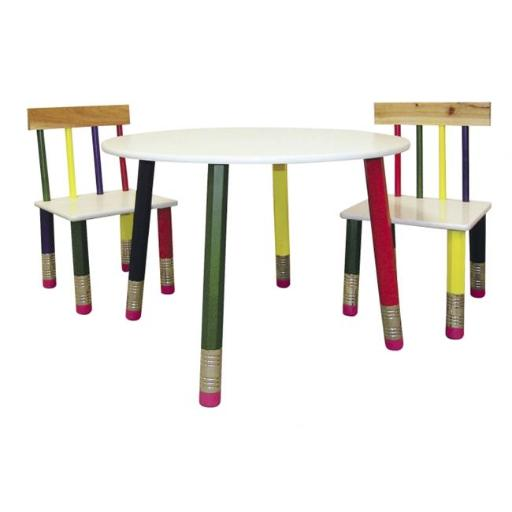 Ore International H-58A Kids Table 3-pc. Set - White Table