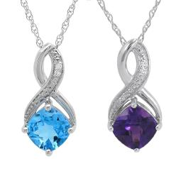 Gemstone and Diamond Pendant Necklace in Sterling Silver