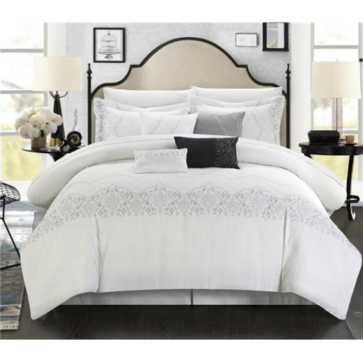 Chic Home 105-134-Q-07-US 12 Piece Elegan Embroidered Bridal Collection Queen Comforter Set, White with Sheet Set