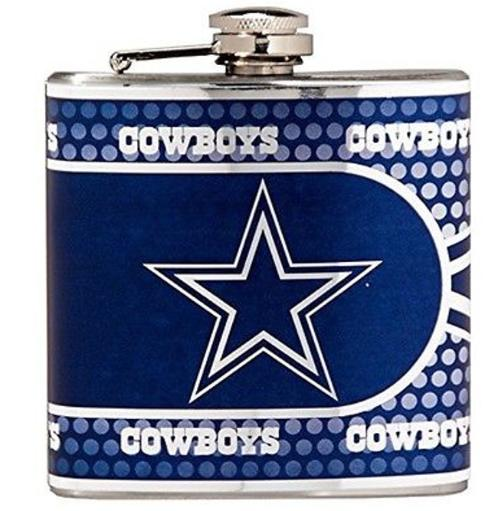 Dallas Cowboys Stainless Steel 6 Oz. Flask With Metallic Graphics NFL Football
