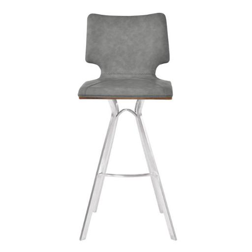 Armen Living LCMLBAVGBSWA30 33-43 x 17 x 18 in. 30 in. Marley Bar Height Barstool, Brushed Stainless Steel with Vintage Grey Faux Leather & Walnut Woo