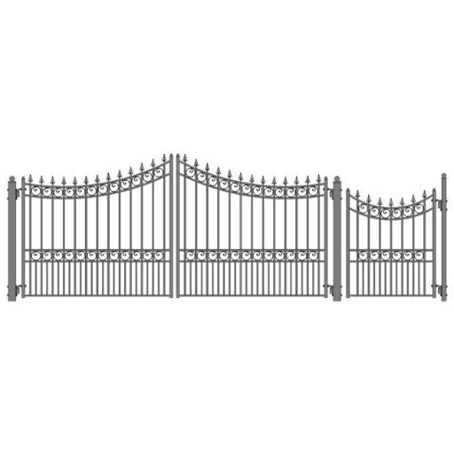 Aleko SET12X4MOSD-UNB 12 ft. Moscow Style Steel Swing Dual Driveway with Pedestrian Gate, Black