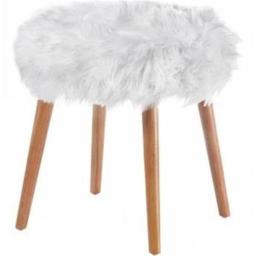 AE Wholesale 10018179 Faux Fur Foot Stool, White